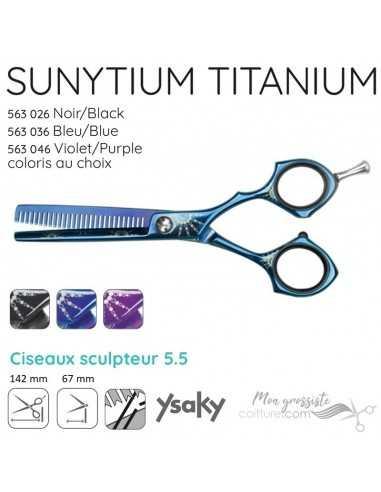 Ciseaux Ysaky Sunytium Blue Sculpteur 55 Titanium